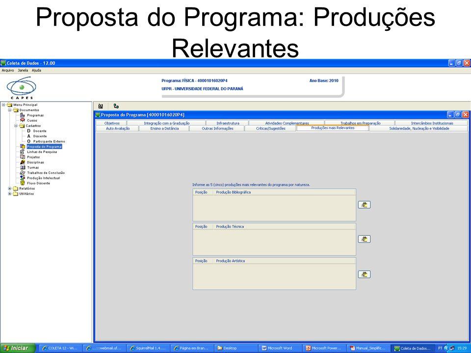 Proposta do Programa: Produções Relevantes