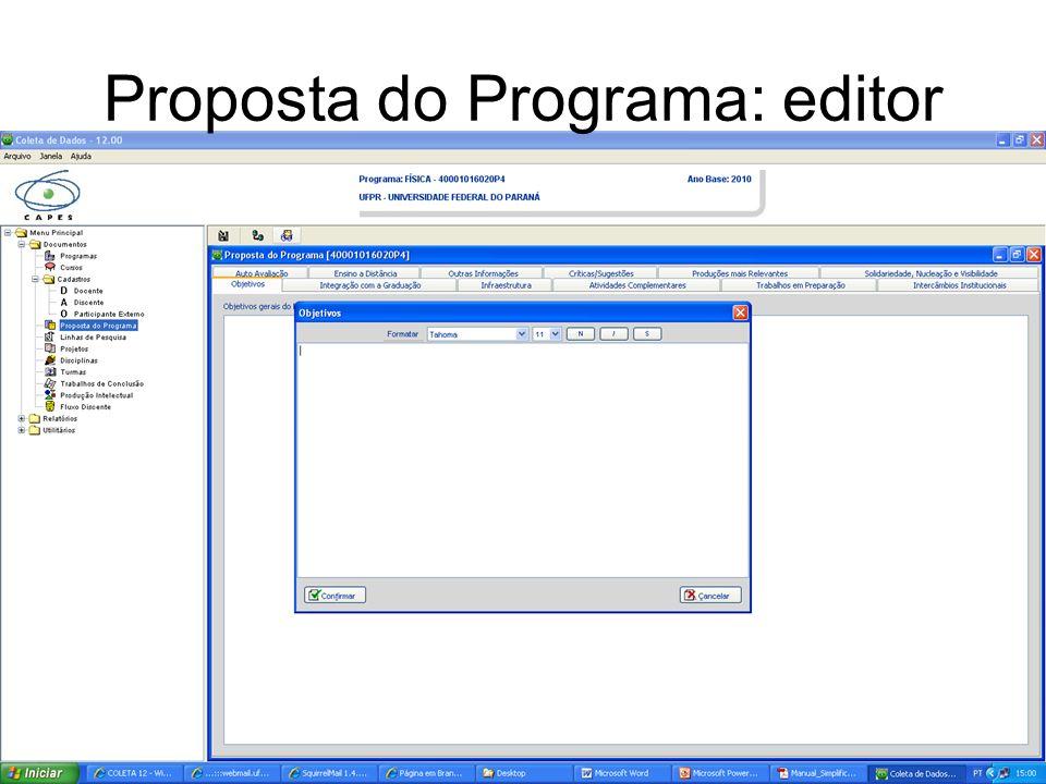Proposta do Programa: editor