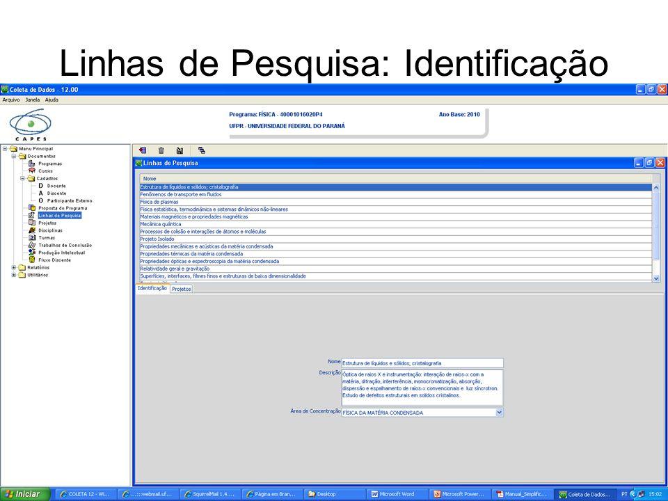 Linhas de Pesquisa: Identificação
