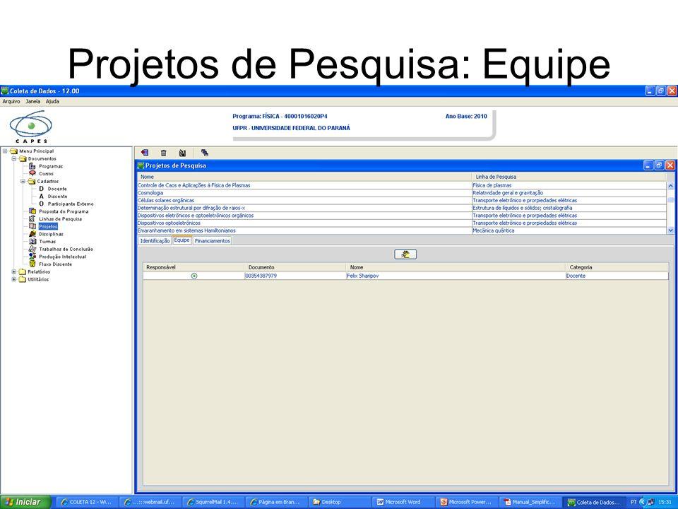 Projetos de Pesquisa: Equipe