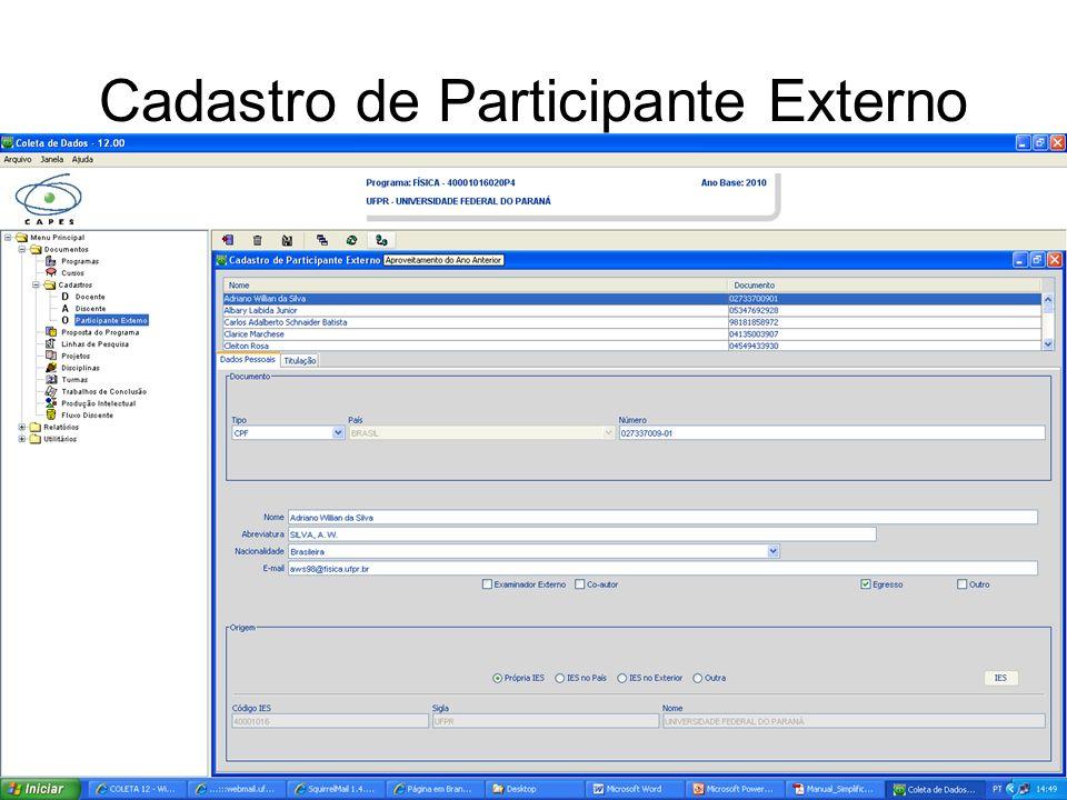 Cadastro de Participante Externo
