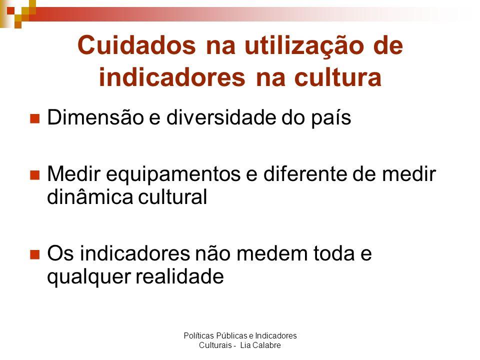 Cuidados na utilização de indicadores na cultura Dimensão e diversidade do país Medir equipamentos e diferente de medir dinâmica cultural Os indicador