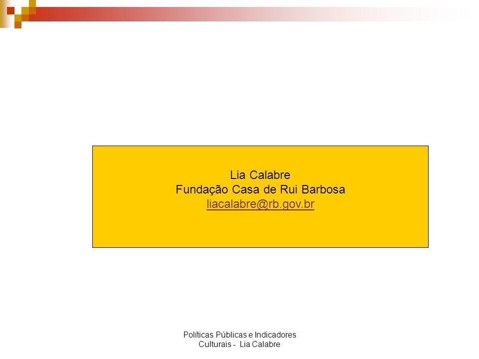 Lia Calabre Fundação Casa de Rui Barbosa liacalabre@rb.gov.br