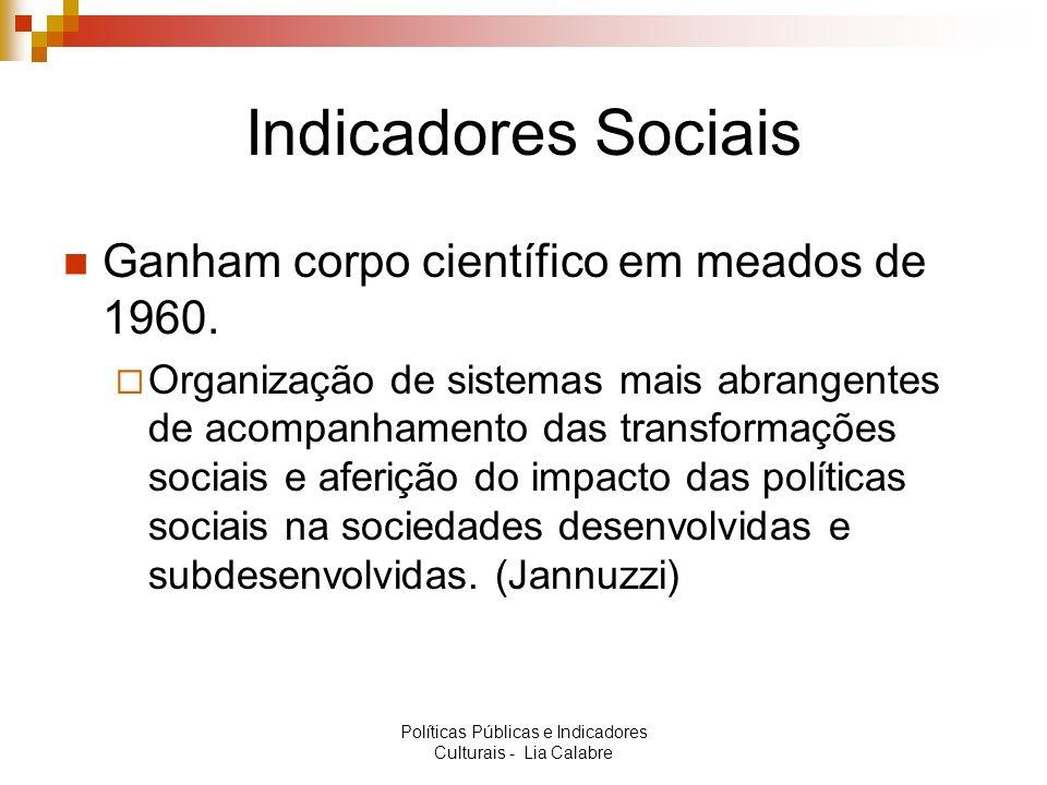 Indicadores Sociais Ganham corpo científico em meados de 1960. Organização de sistemas mais abrangentes de acompanhamento das transformações sociais e