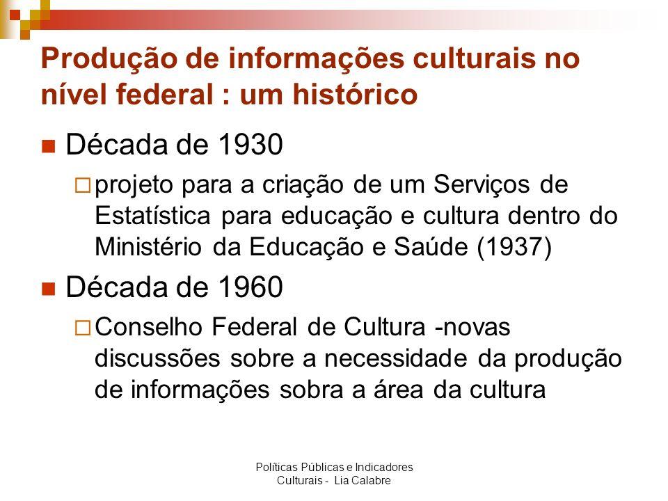 Questão principal: Como se dá a produção e a utilização de indicadores culturais para a formulação e acompanhamento das políticas culturais.