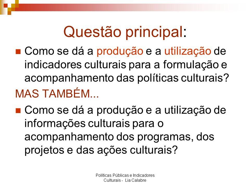 Questão principal: Como se dá a produção e a utilização de indicadores culturais para a formulação e acompanhamento das políticas culturais? MAS TAMBÉ