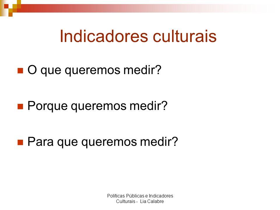Indicadores culturais O que queremos medir? Porque queremos medir? Para que queremos medir? Políticas Públicas e Indicadores Culturais - Lia Calabre