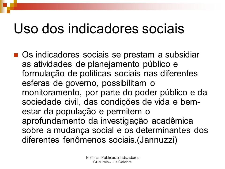 Uso dos indicadores sociais Os indicadores sociais se prestam a subsidiar as atividades de planejamento público e formulação de políticas sociais nas