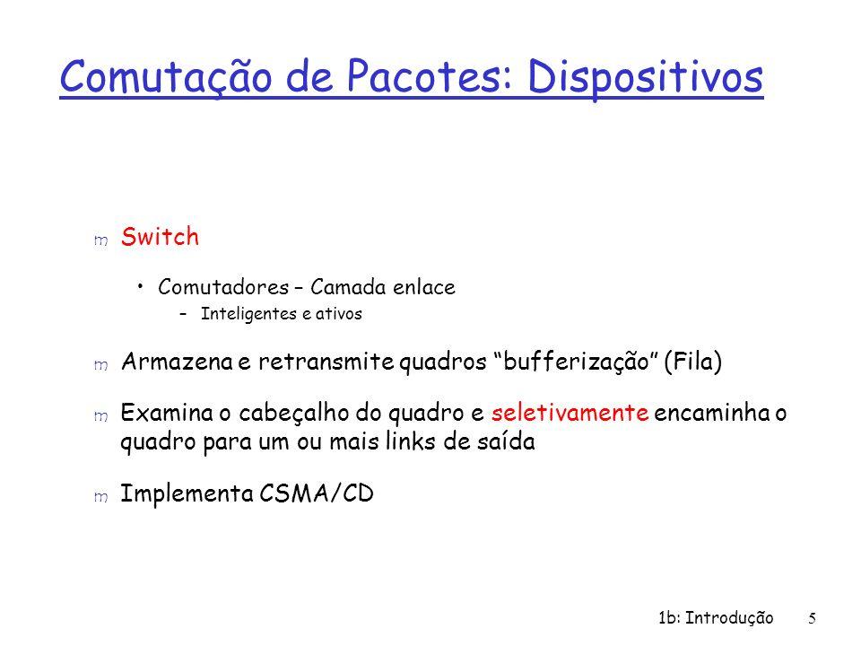 1b: Introdução 6 Comutação de Pacotes: Dispositivos m Protocolos CSMA/CD –Carrier Sense Multiple Access with Collision Detection Ethernet –Controle de envio de sinais