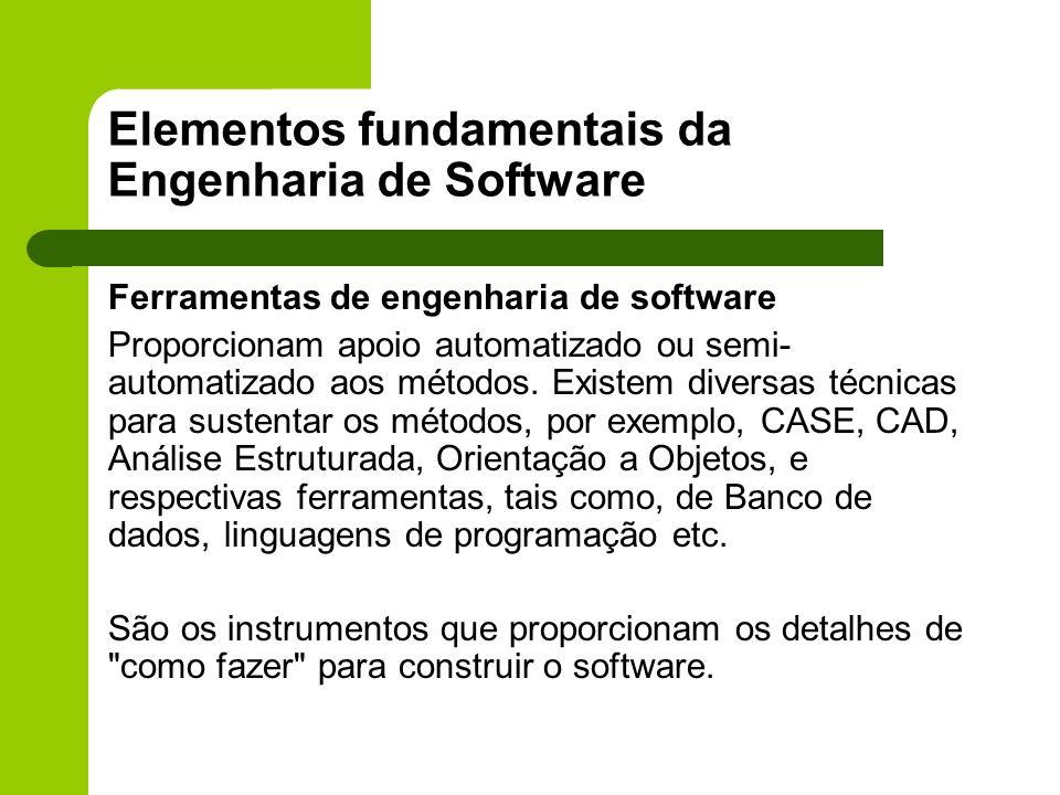 Elementos fundamentais da Engenharia de Software Ferramentas de engenharia de software Proporcionam apoio automatizado ou semi- automatizado aos métod