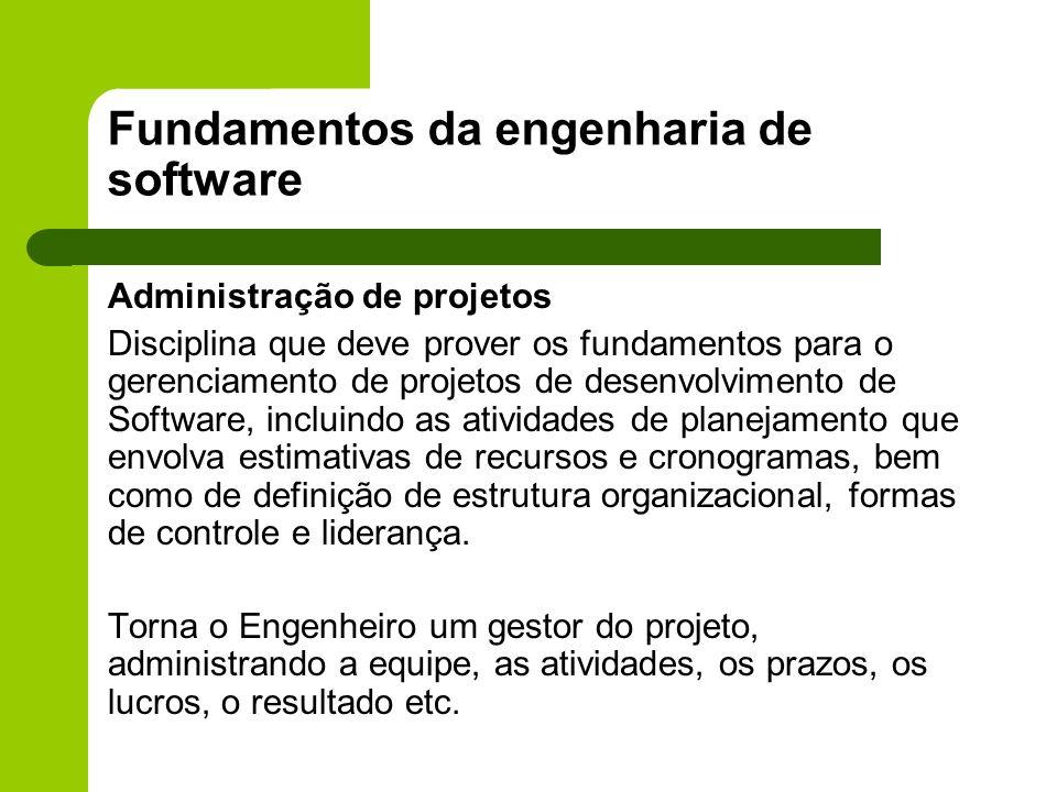 Fundamentos da engenharia de software Administração de projetos Disciplina que deve prover os fundamentos para o gerenciamento de projetos de desenvol