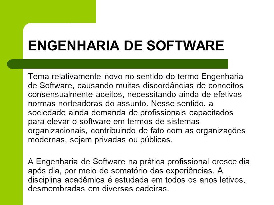 ENGENHARIA DE SOFTWARE Tema relativamente novo no sentido do termo Engenharia de Software, causando muitas discordâncias de conceitos consensualmente