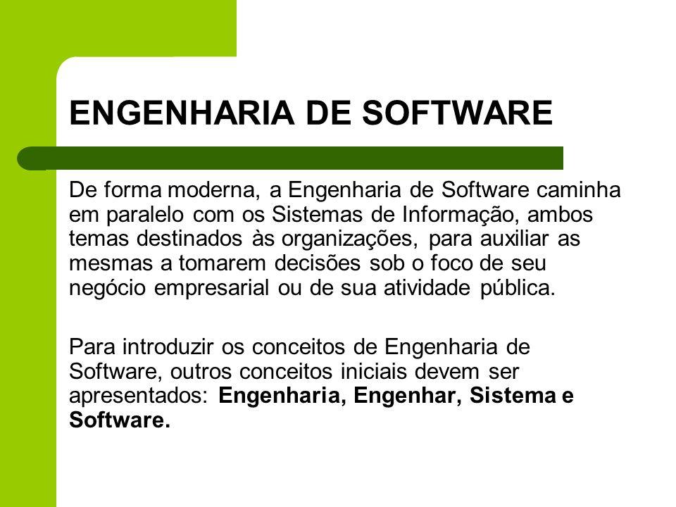 ENGENHARIA DE SOFTWARE De forma moderna, a Engenharia de Software caminha em paralelo com os Sistemas de Informação, ambos temas destinados às organiz
