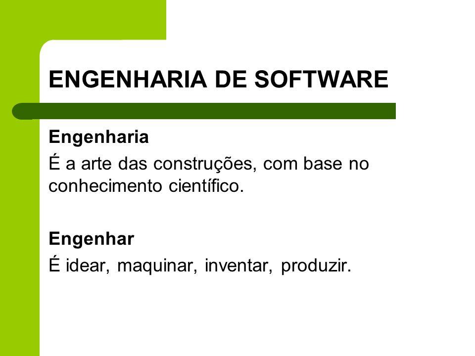 ENGENHARIA DE SOFTWARE Engenharia É a arte das construções, com base no conhecimento científico. Engenhar É idear, maquinar, inventar, produzir.