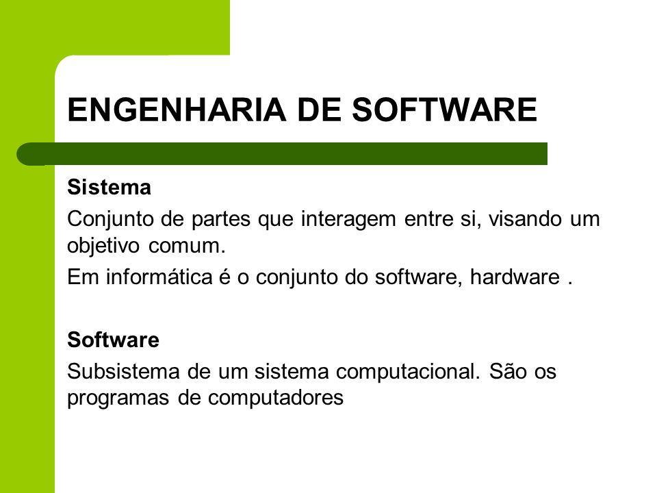 ENGENHARIA DE SOFTWARE Sistema Conjunto de partes que interagem entre si, visando um objetivo comum. Em informática é o conjunto do software, hardware
