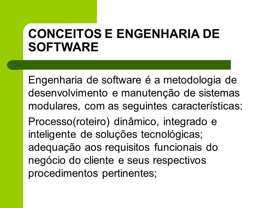 CONCEITOS E ENGENHARIA DE SOFTWARE Engenharia de software é a metodologia de desenvolvimento e manutenção de sistemas modulares, com as seguintes cara