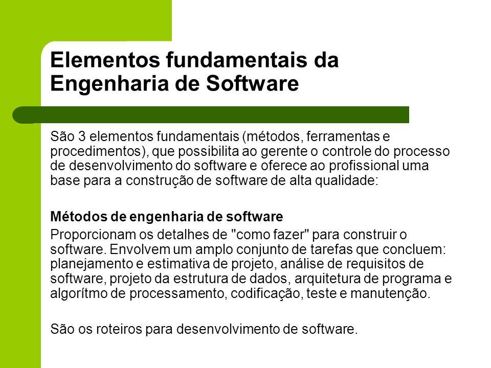 Elementos fundamentais da Engenharia de Software São 3 elementos fundamentais (métodos, ferramentas e procedimentos), que possibilita ao gerente o con