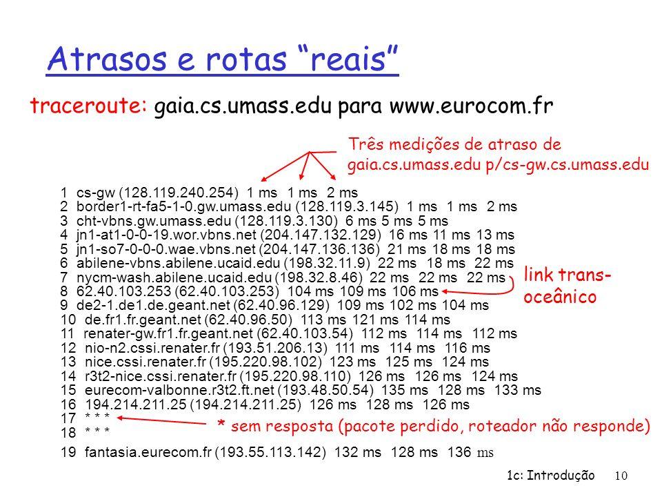 1c: Introdução10 Atrasos e rotas reais 1 cs-gw (128.119.240.254) 1 ms 1 ms 2 ms 2 border1-rt-fa5-1-0.gw.umass.edu (128.119.3.145) 1 ms 1 ms 2 ms 3 cht