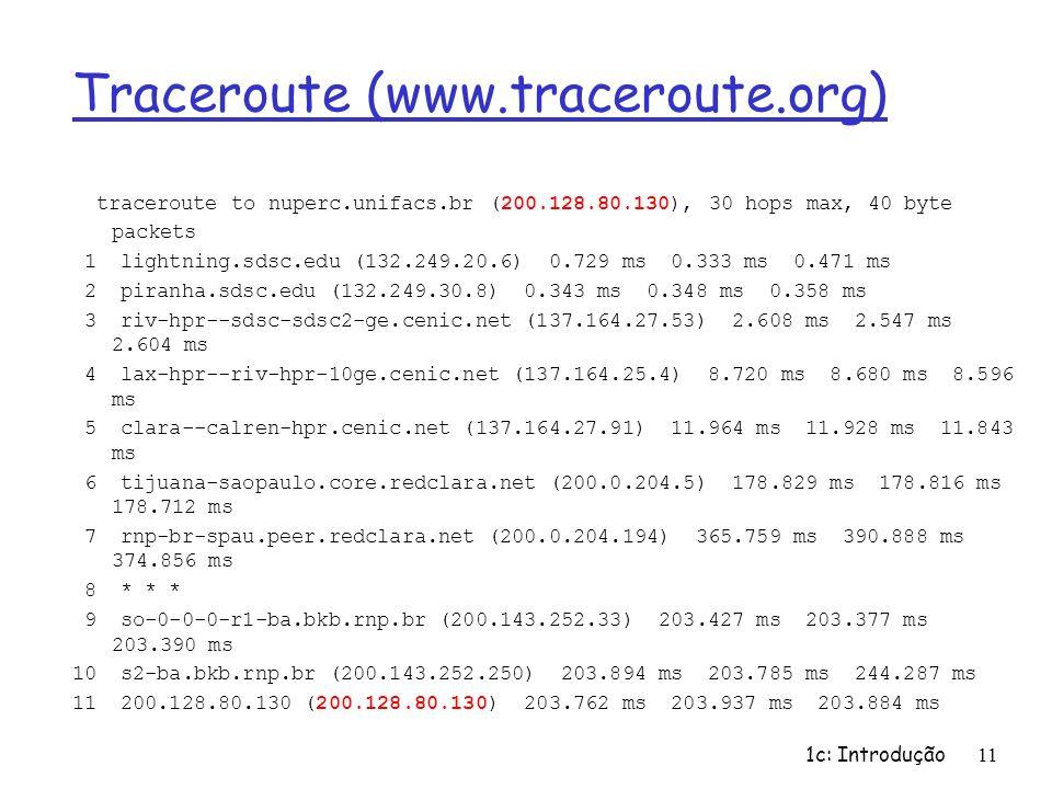 1c: Introdução11 Traceroute (www.traceroute.org) traceroute to nuperc.unifacs.br (200.128.80.130), 30 hops max, 40 byte packets 1 lightning.sdsc.edu (