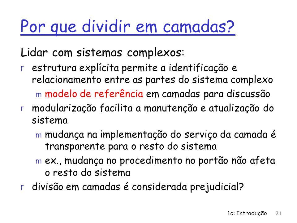1c: Introdução21 Por que dividir em camadas? Lidar com sistemas complexos: r estrutura explícita permite a identificação e relacionamento entre as par