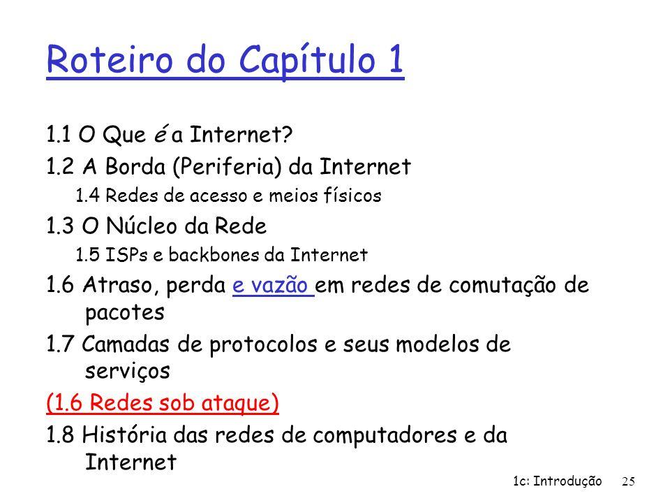 1c: Introdução25 Roteiro do Capítulo 1 1.1 O Que é a Internet? 1.2 A Borda (Periferia) da Internet 1.4 Redes de acesso e meios físicos 1.3 O Núcleo da