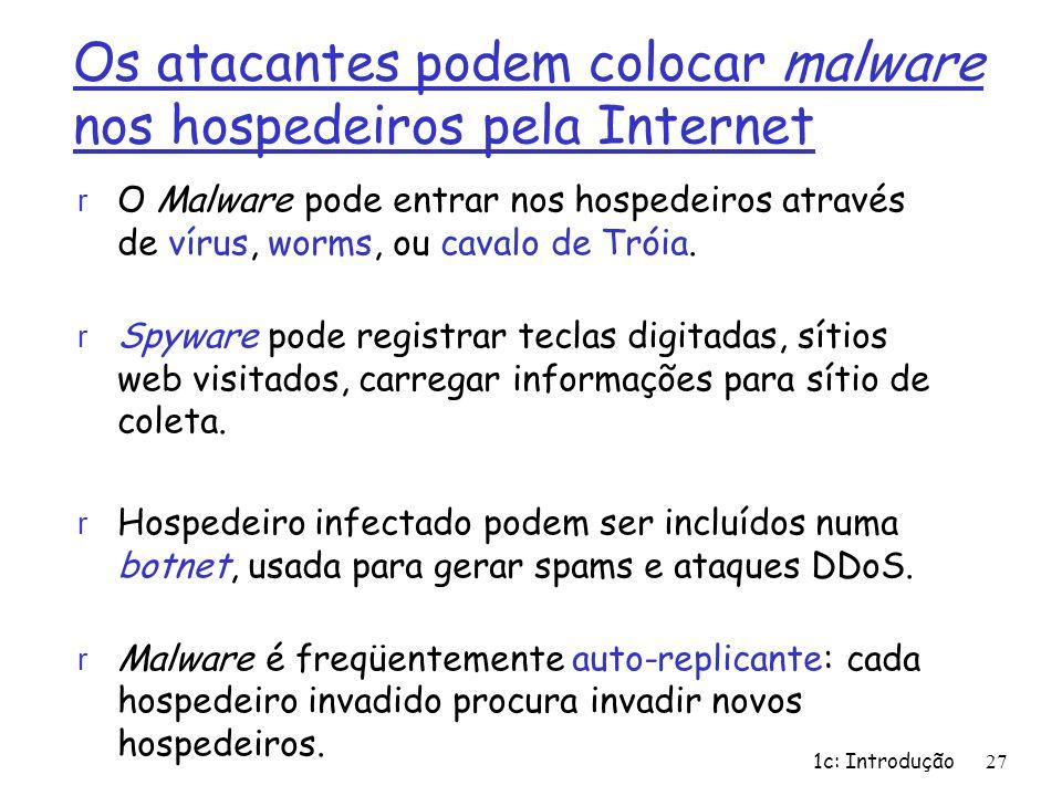 1c: Introdução27 Os atacantes podem colocar malware nos hospedeiros pela Internet r O Malware pode entrar nos hospedeiros através de vírus, worms, ou