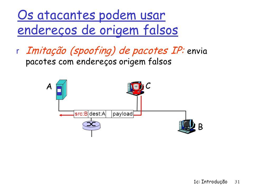 1c: Introdução31 Os atacantes podem usar endereços de origem falsos r Imitação (spoofing) de pacotes IP: envia pacotes com endereços origem falsos A B