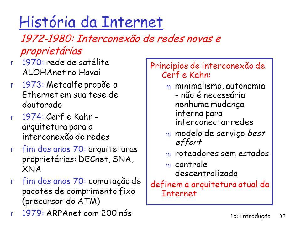 1c: Introdução37 Princípios de interconexão de Cerf e Kahn: m minimalismo, autonomia - não é necessária nenhuma mudança interna para interconectar red