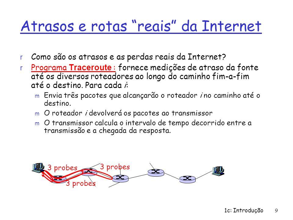 1c: Introdução9 Atrasos e rotas reais da Internet r Como são os atrasos e as perdas reais da Internet? Programa Traceroute : fornece medições de atras