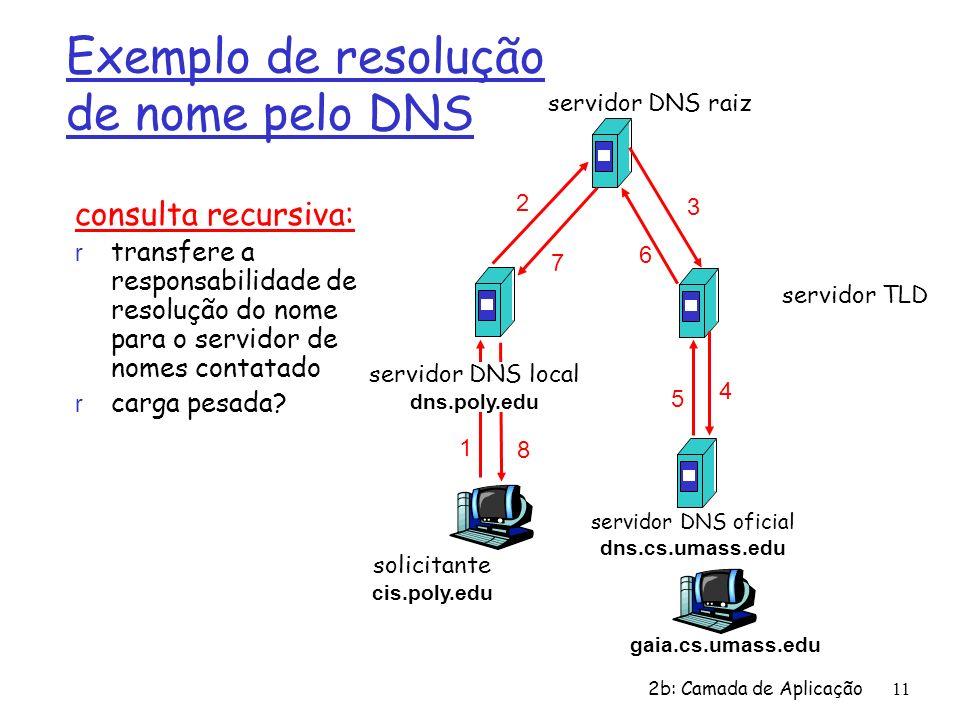 2b: Camada de Aplicação 11 consulta recursiva: r transfere a responsabilidade de resolução do nome para o servidor de nomes contatado r carga pesada?