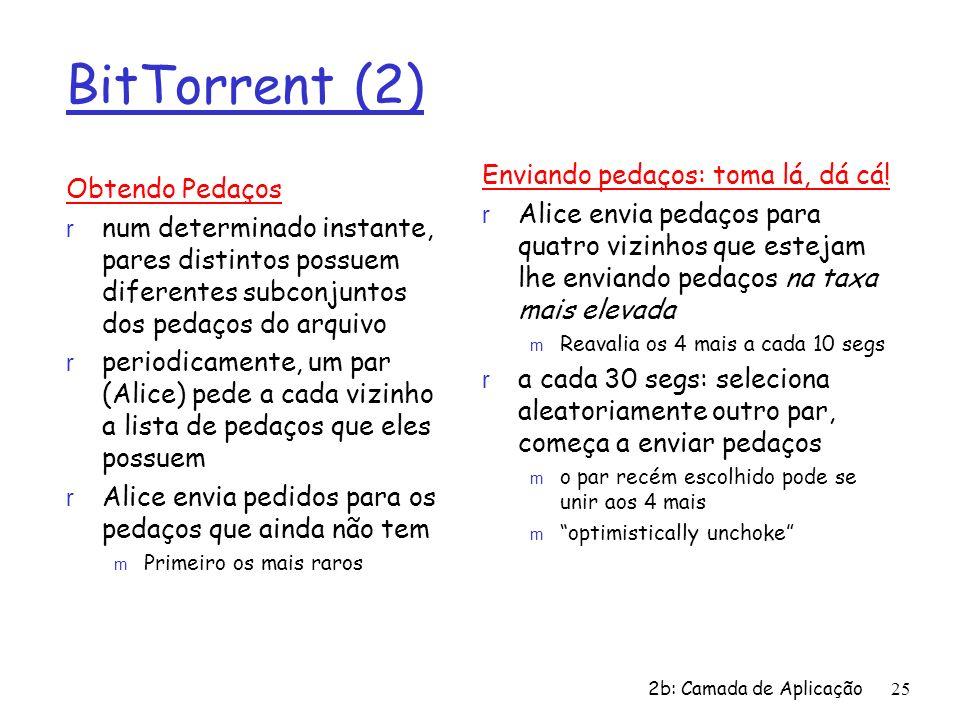 BitTorrent (2) Obtendo Pedaços r num determinado instante, pares distintos possuem diferentes subconjuntos dos pedaços do arquivo r periodicamente, um