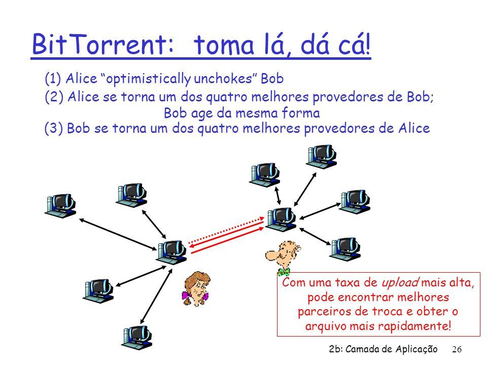 2b: Camada de Aplicação 26 BitTorrent: toma lá, dá cá! (1) Alice optimistically unchokes Bob (2) Alice se torna um dos quatro melhores provedores de B