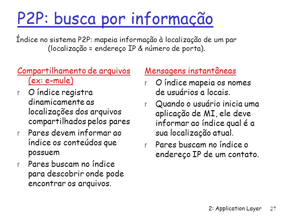 2: Application Layer 27 P2P: busca por informação Compartilhamento de arquivos (ex: e-mule) r O índice registra dinamicamente as localizações dos arqu