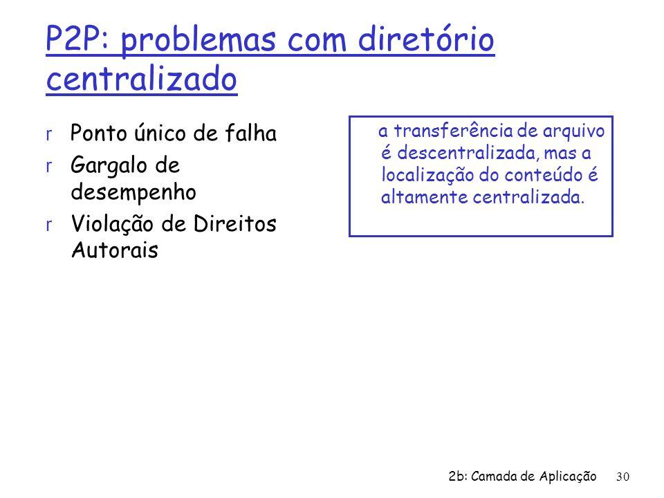 2b: Camada de Aplicação 30 P2P: problemas com diretório centralizado r Ponto único de falha r Gargalo de desempenho r Violação de Direitos Autorais a