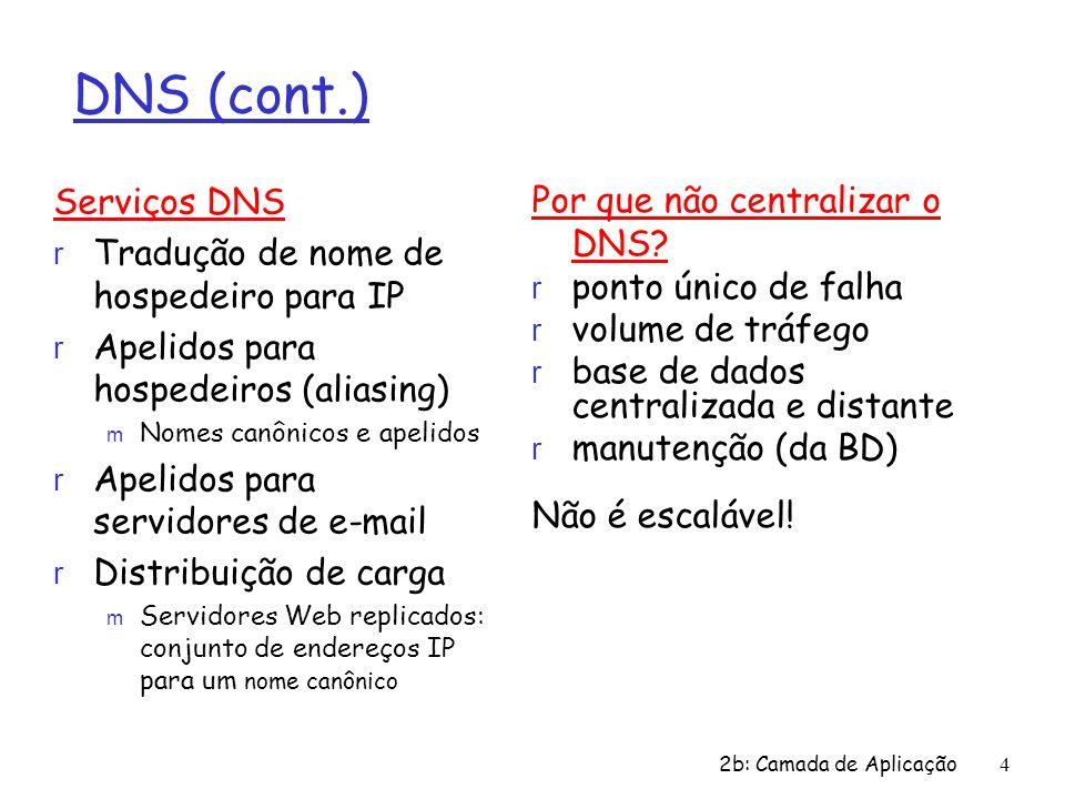 2b: Camada de Aplicação 4 DNS (cont.) Serviços DNS r Tradução de nome de hospedeiro para IP r Apelidos para hospedeiros (aliasing) m Nomes canônicos e