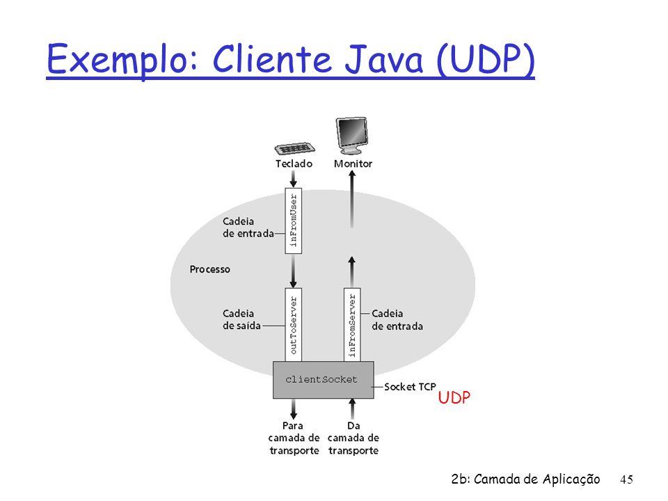 2b: Camada de Aplicação 45 Exemplo: Cliente Java (UDP) UDP