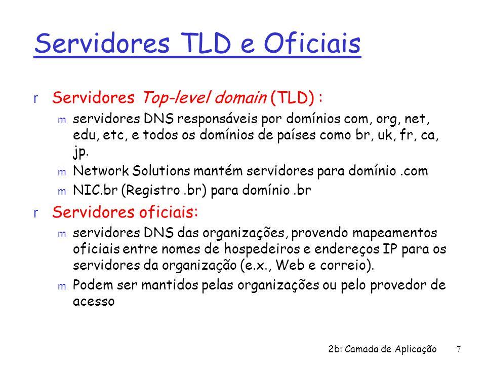 2b: Camada de Aplicação 7 Servidores TLD e Oficiais r Servidores Top-level domain (TLD) : m servidores DNS responsáveis por domínios com, org, net, ed
