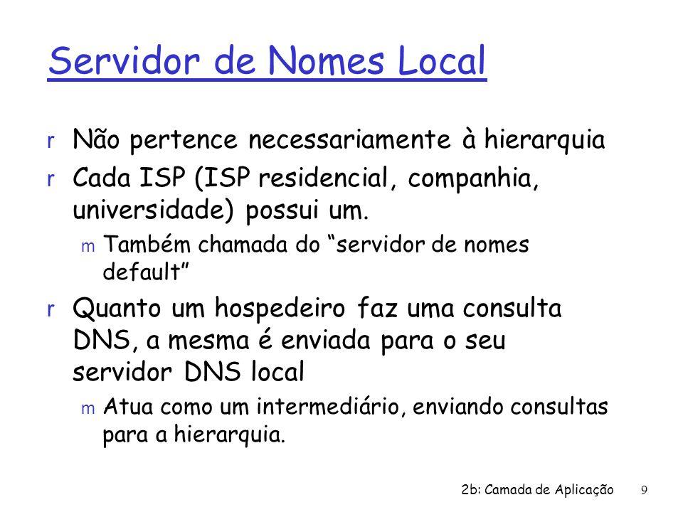 9 Servidor de Nomes Local r Não pertence necessariamente à hierarquia r Cada ISP (ISP residencial, companhia, universidade) possui um. m Também chamad