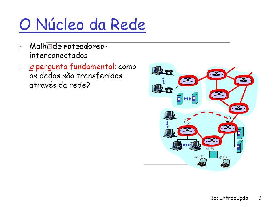 1b: Introdução 3 O Núcleo da Rede r Malha de roteadores interconectados r a pergunta fundamental: como os dados são transferidos através da rede? m co