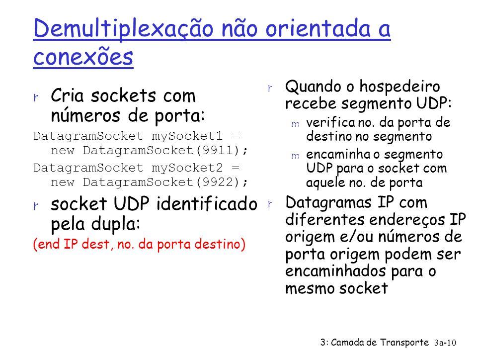 3: Camada de Transporte 3a-10 Demultiplexação não orientada a conexões r Cria sockets com números de porta: DatagramSocket mySocket1 = new DatagramSoc