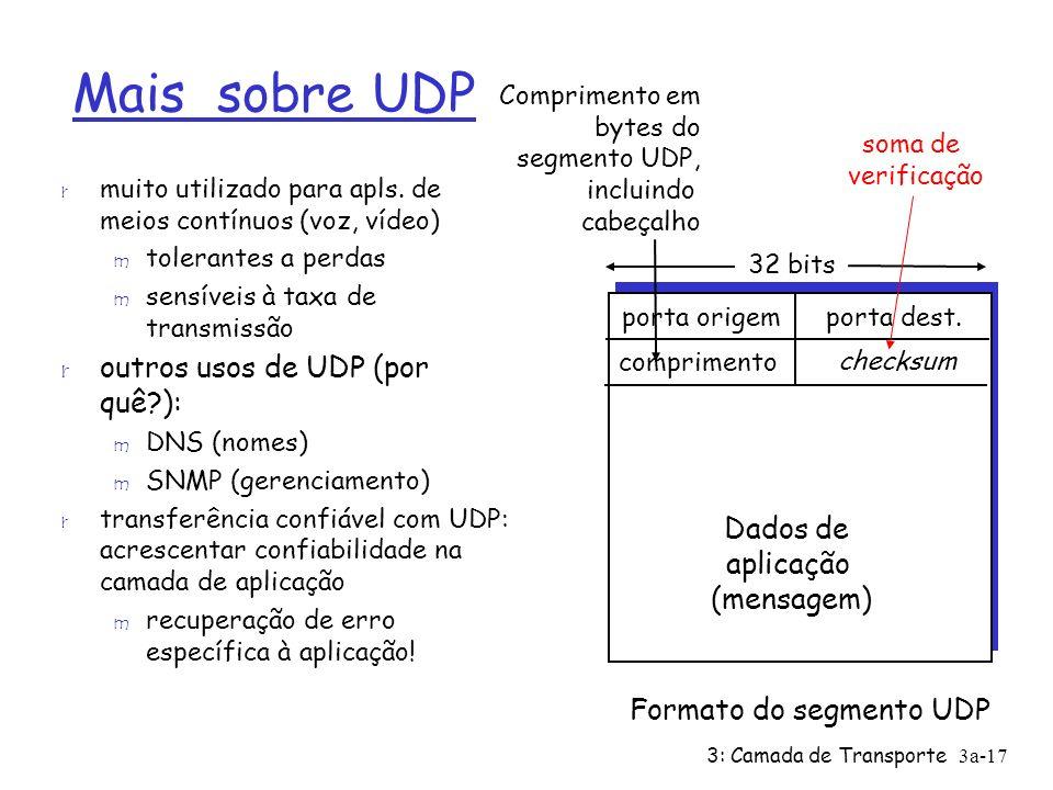 3: Camada de Transporte 3a-17 Mais sobre UDP r muito utilizado para apls. de meios contínuos (voz, vídeo) m tolerantes a perdas m sensíveis à taxa de