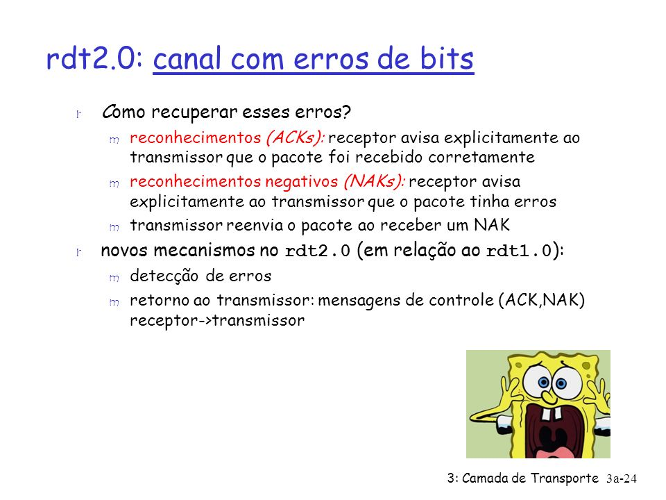 3: Camada de Transporte 3a-24 rdt2.0: canal com erros de bits r Como recuperar esses erros? m reconhecimentos (ACKs): receptor avisa explicitamente ao