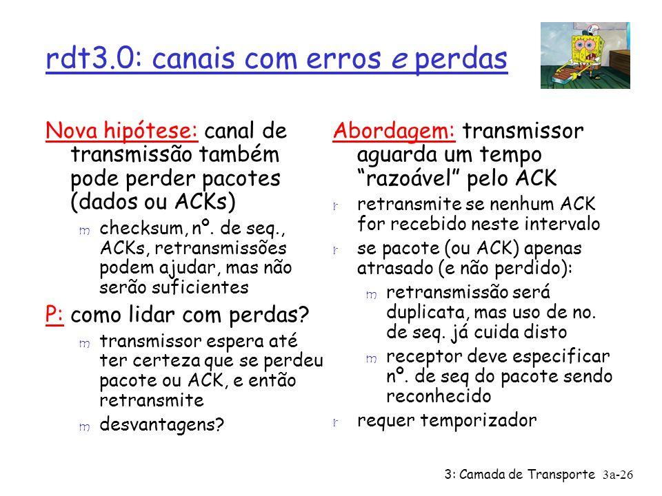 3: Camada de Transporte 3a-26 rdt3.0: canais com erros e perdas Nova hipótese: canal de transmissão também pode perder pacotes (dados ou ACKs) m check