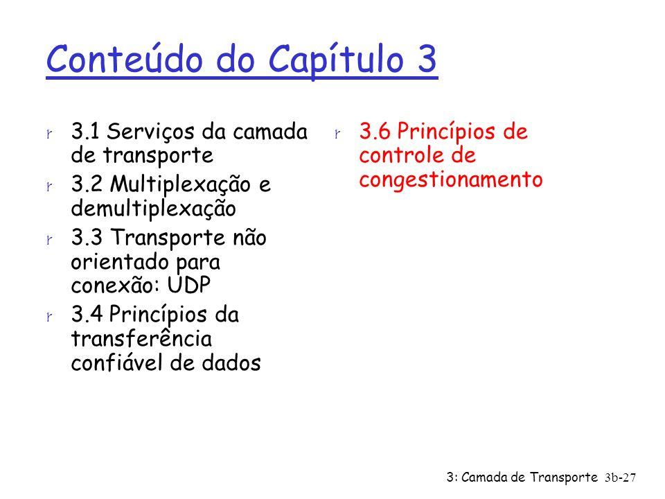 3: Camada de Transporte 3b-27 Conteúdo do Capítulo 3 r 3.1 Serviços da camada de transporte r 3.2 Multiplexação e demultiplexação r 3.3 Transporte não