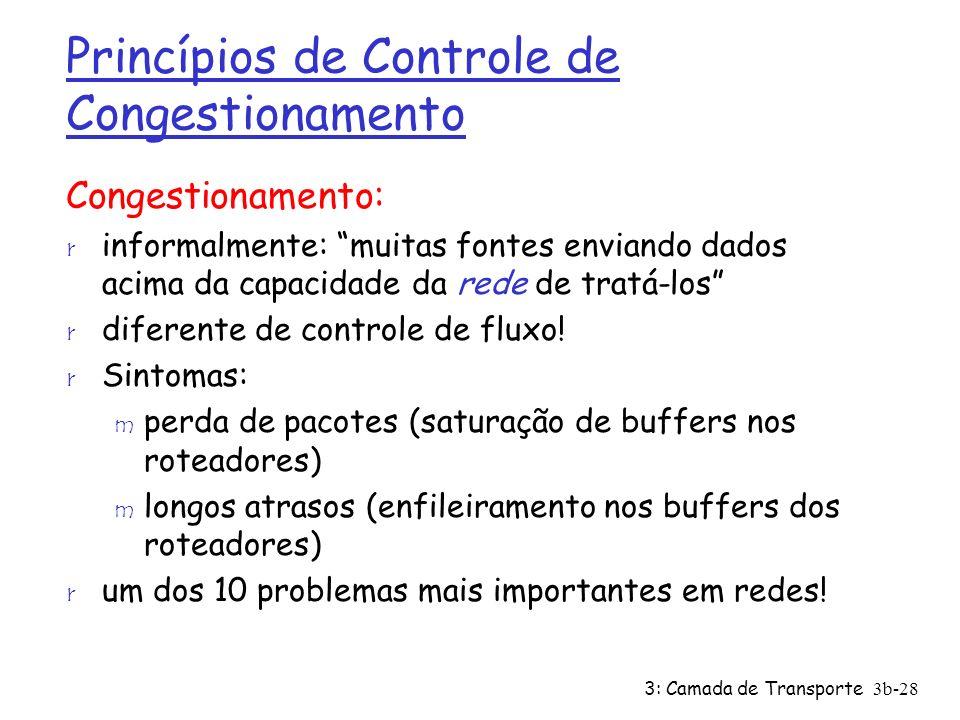 3: Camada de Transporte 3b-28 Princípios de Controle de Congestionamento Congestionamento: r informalmente: muitas fontes enviando dados acima da capa