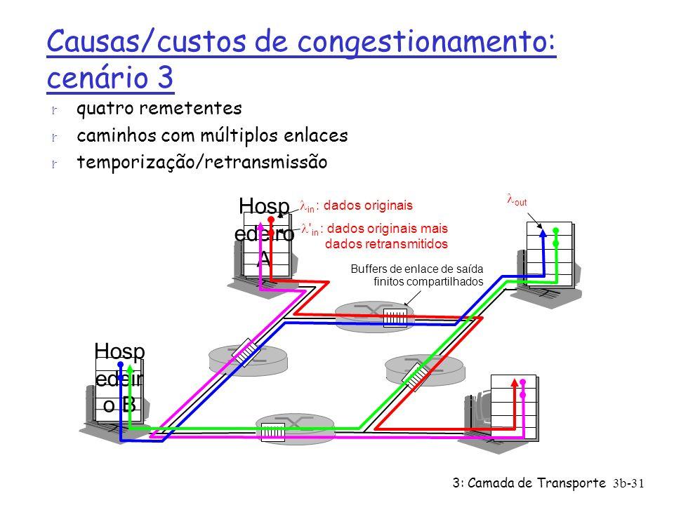 3: Camada de Transporte 3b-31 Causas/custos de congestionamento: cenário 3 r quatro remetentes r caminhos com múltiplos enlaces r temporização/retrans