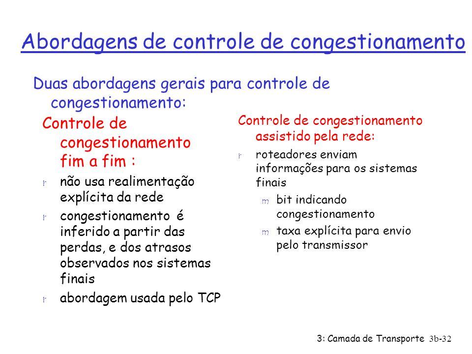 3: Camada de Transporte 3b-32 Abordagens de controle de congestionamento Controle de congestionamento fim a fim : r não usa realimentação explícita da