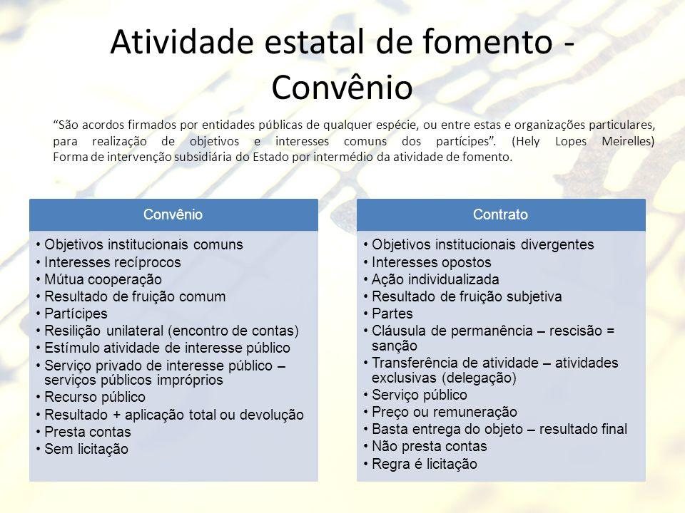Atividade estatal de fomento - Convênio Convênio Objetivos institucionais comuns Interesses recíprocos Mútua cooperação Resultado de fruição comum Par