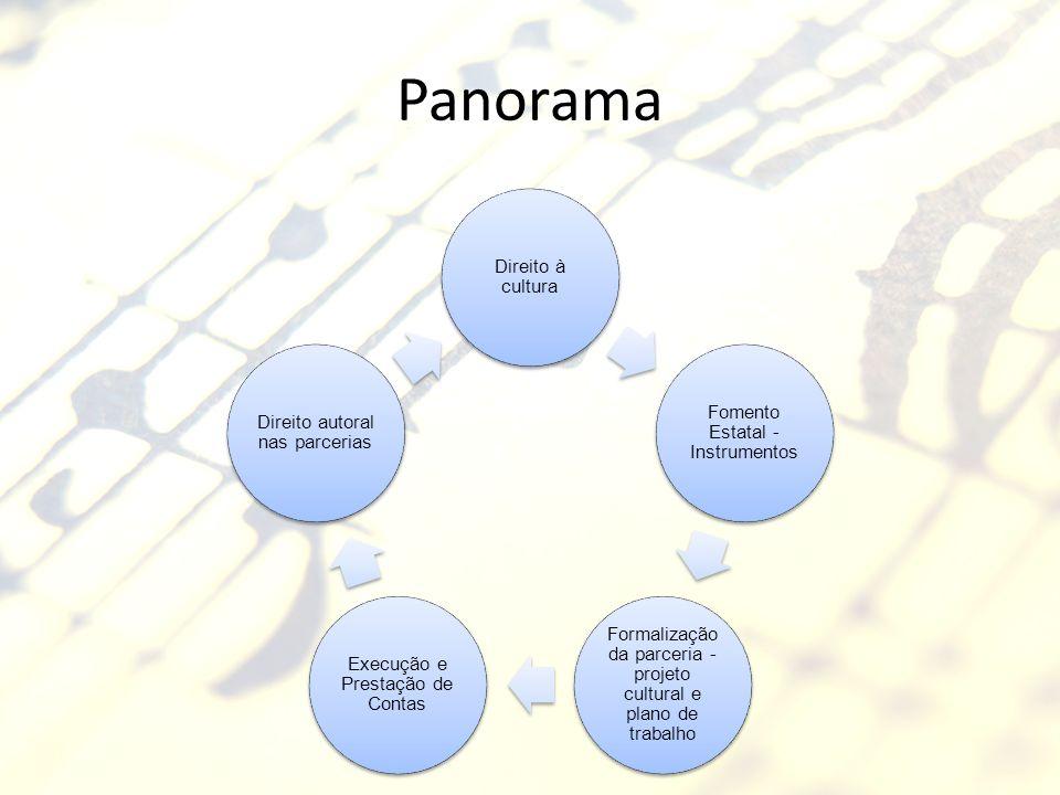 Panorama Direito à cultura Fomento Estatal - Instrumentos Formalização da parceria - projeto cultural e plano de trabalho Execução e Prestação de Cont