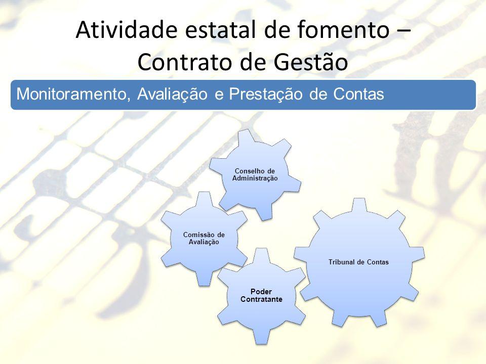 Atividade estatal de fomento – Contrato de Gestão Monitoramento, Avaliação e Prestação de Contas Tribunal de Contas Comissão de Avaliação Conselho de